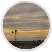 Northern California Windmill Round Beach Towel