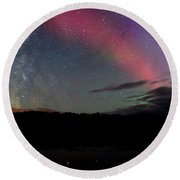 Northern Lights And The Milky Way Round Beach Towel