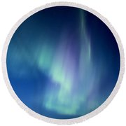 Northern Lights Over Canadian Lake Round Beach Towel