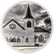 Norwegian Church Cardiff Bay Cream Round Beach Towel