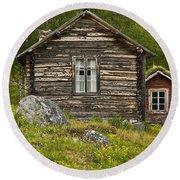 Norwegian Timber House Round Beach Towel