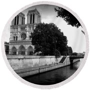 Notre Dame Along The Seine Round Beach Towel