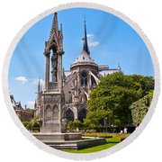 Notre Dame Cathedral Backside Round Beach Towel