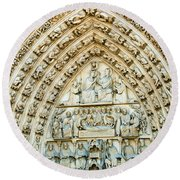 Notre Dame Cathedral Center Entry Round Beach Towel