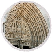 Notre Dame Cathedral Right Entry Door Round Beach Towel