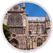 Notre Dame Cathedral Rose Window Round Beach Towel