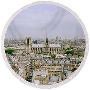 Notre Dame In Paris Round Beach Towel