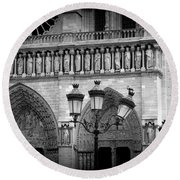 Notre Dame With Luminaires Round Beach Towel