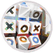 Noughts And Crosses Round Beach Towel