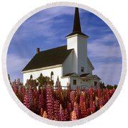 Nova Scotia Church Round Beach Towel