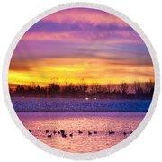 November Lagerman Reservoir Sunrise  Round Beach Towel by James BO  Insogna