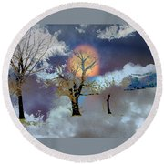 November Moon Round Beach Towel