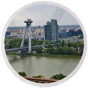 Novy Most Bridge - Bratislava Round Beach Towel