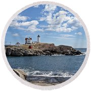 Nubble Light II Round Beach Towel