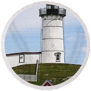 Nubble Lighthouse- Canvas Round Beach Towel by Luke Moore