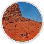 Nubian Camel Rider Round Beach Towel by Tony Beck