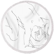 Nude-male-artwork-21 Round Beach Towel