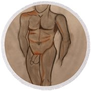 Nude Male Drawing Round Beach Towel