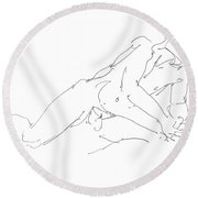 Nude Male Drawings 10 Round Beach Towel
