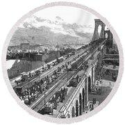 Ny: Brooklyn Bridge, 1883 Round Beach Towel