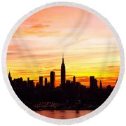 Ny Saturday Sunrise Round Beach Towel