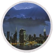 Nyc All Charged Up Round Beach Towel