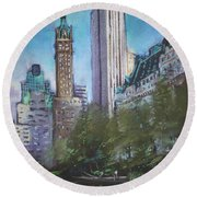 Nyc Central Park 2 Round Beach Towel by Ylli Haruni