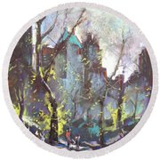 Nyc Central Park Controluce Round Beach Towel