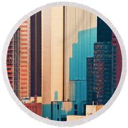 Nyc Colors And Lines II Round Beach Towel