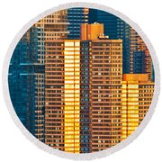Nyc Colors And Lines IIi Round Beach Towel