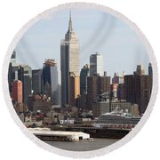 Nyc In The Afternoon Round Beach Towel