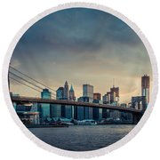Nyc Skyline In The Sunset V1 Round Beach Towel