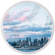 Nyc Sundown Blue II Round Beach Towel