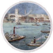Nyc: The Battery, 1884 Round Beach Towel