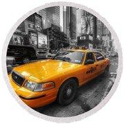 Nyc Yellow Cab Round Beach Towel