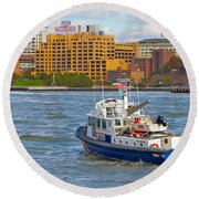 Nypd In The Water Round Beach Towel