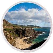 Oahu Coastal Getaway Round Beach Towel