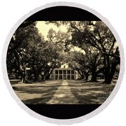 Oak Alley In Black And White Round Beach Towel
