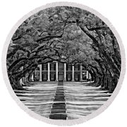 Oak Alley Monochrome Round Beach Towel by Steve Harrington