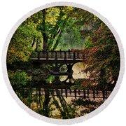 Oak Bridge In Fall Round Beach Towel