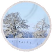 Oak In Snow Round Beach Towel