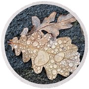 Oak Leaves Round Beach Towel