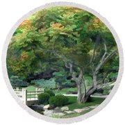 Oasis In A Sea Of Green Round Beach Towel