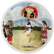 Oaxaca Dancers Round Beach Towel