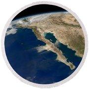 Oblique View Of Baja California Round Beach Towel