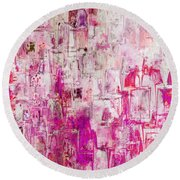 Oblong Abstract I Round Beach Towel