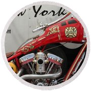 Occ Fdny Motorcycle Round Beach Towel
