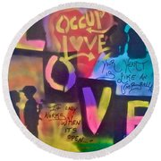 Occupy Love Open Heart Round Beach Towel