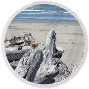 Ocean Beach Driftwood Art Prints Coastal Shore Round Beach Towel