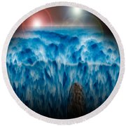 Ocean Falling Into Abyss Round Beach Towel